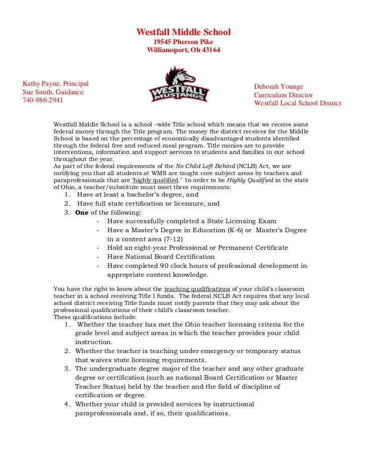 Parent Right to Know- WMS