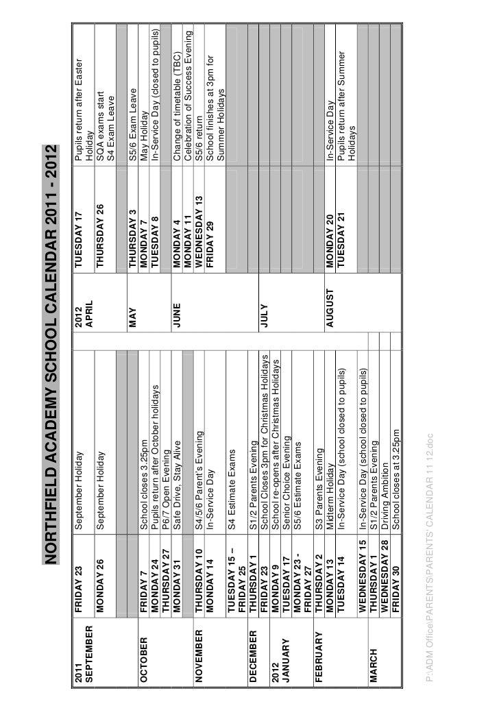 NORTHFIELD ACADEMY SCHOOL CALENDAR 2011 - 20122011         FRIDAY 23        September Holiday                          201...