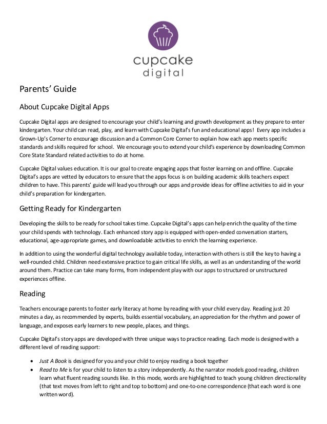 Parents' GuideAbout Cupcake Digital AppsCupcake Digital apps are designed to encourage your child's learning and growth de...