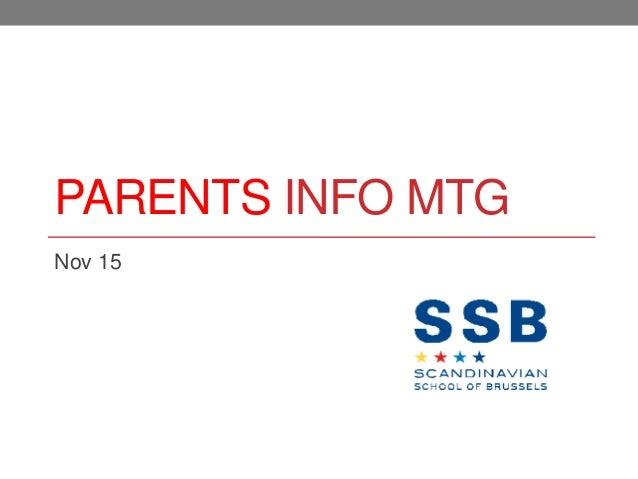 Parents Information Mtg  Nov 15, 2012