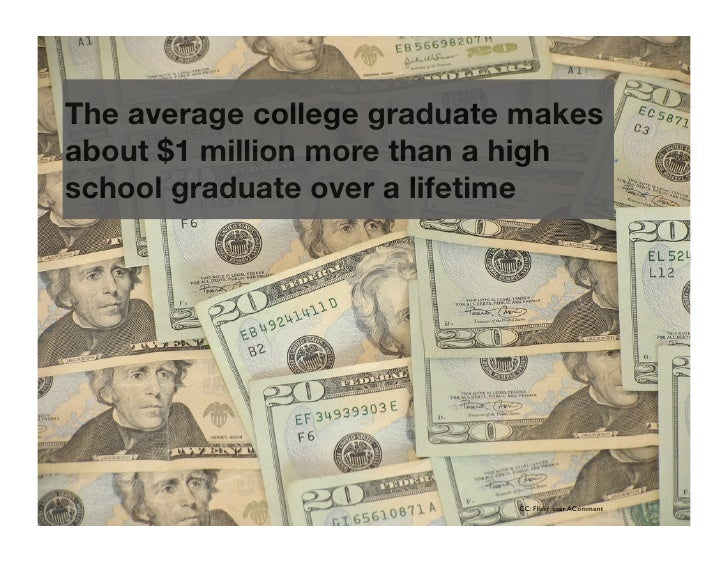 The average college graduate makes about $1 million more than a high school graduate over a lifetime                      ...