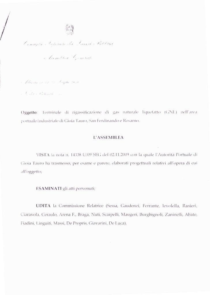 Parere Consiglio Superiore dei Lavori pubblici sul rigassificatore di San Ferdinando