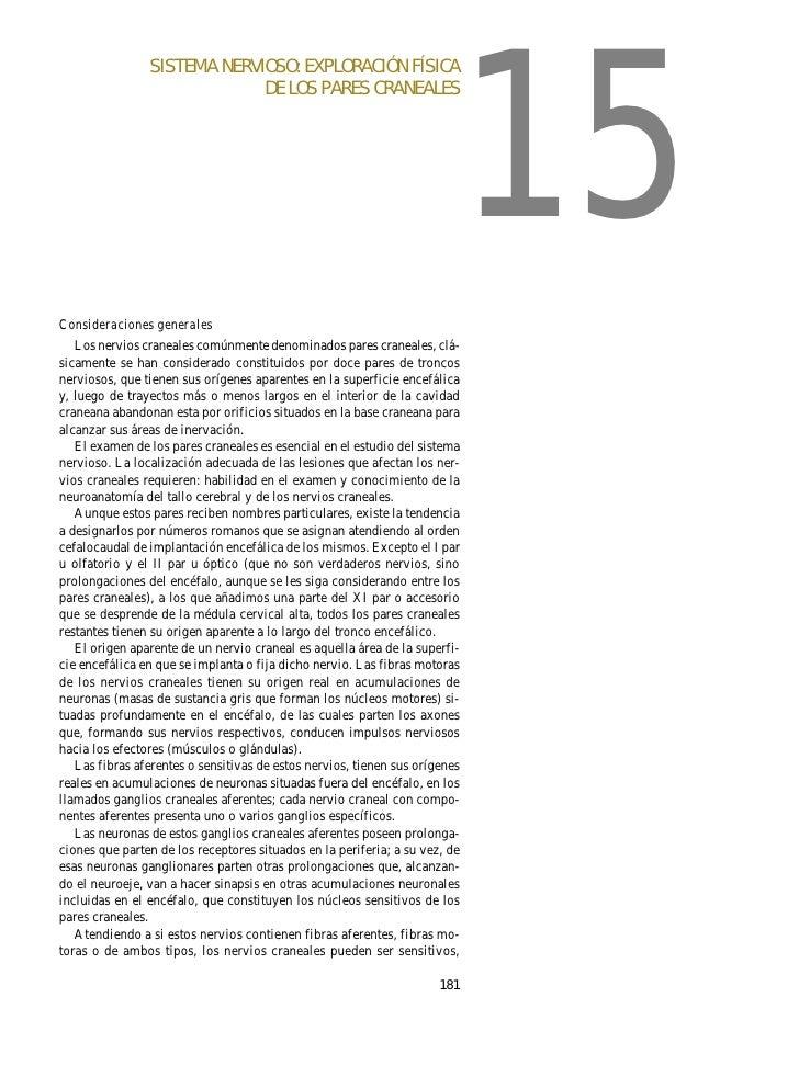 15                 SISTEMA NERVIOSO: EXPLORACIÓN FÍSICA                              DE LOS PARES CRANEALES     Considerac...