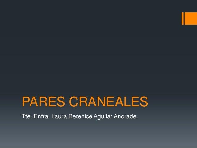 PARES CRANEALESTte. Enfra. Laura Berenice Aguilar Andrade.
