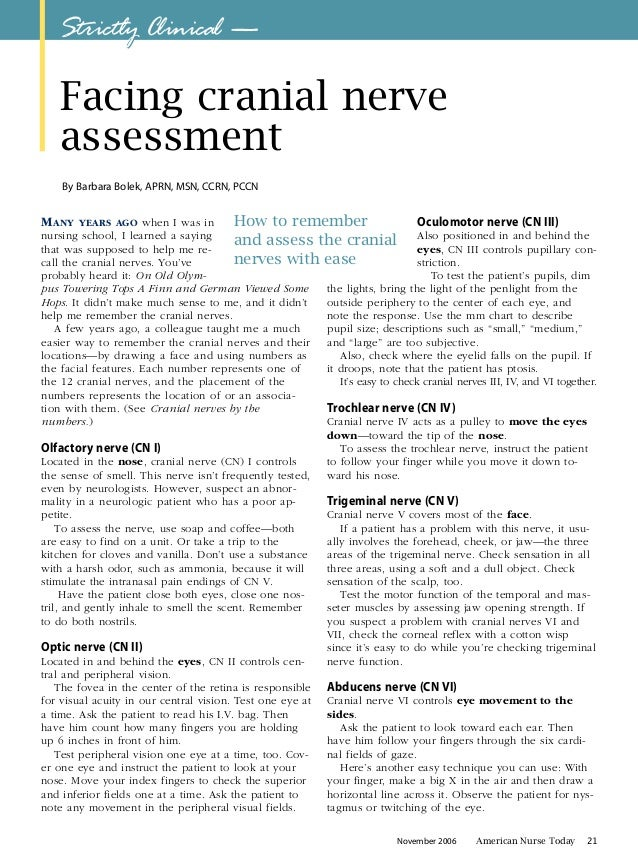 Strictly clinical facing cranial nerve assessment november 2006