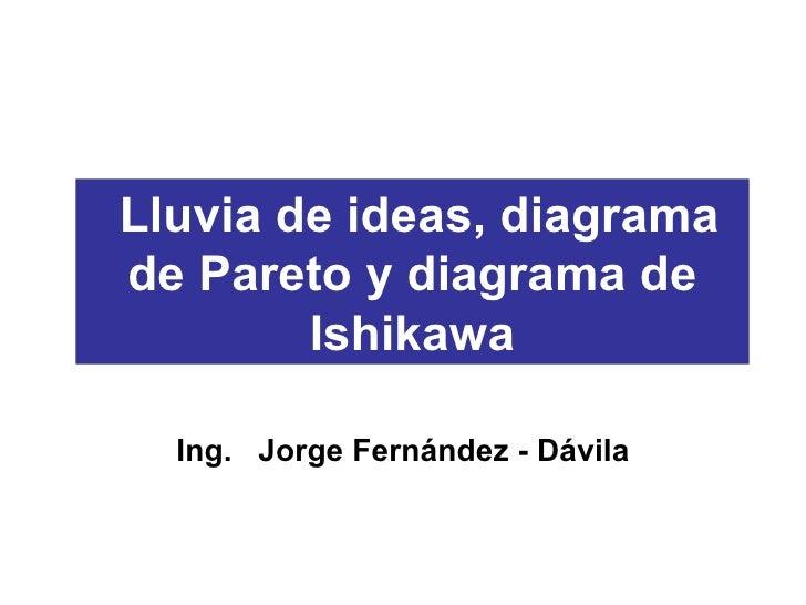 Lluvia de ideas, diagrama de Pareto y diagrama de Ishikawa Ing.  Jorge Fernández - Dávila