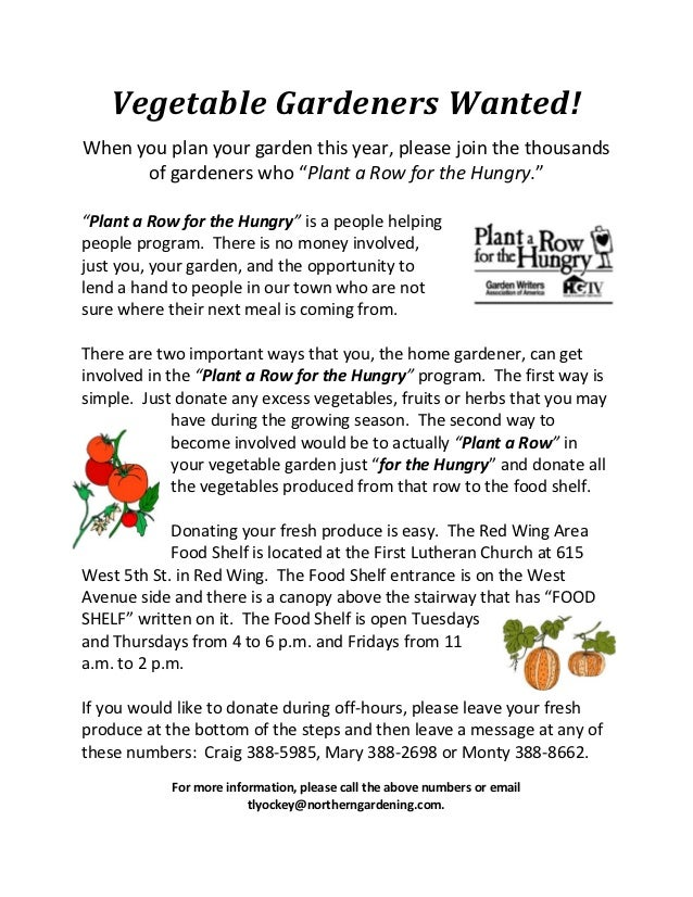 Plant a Row for the Hungry - Twin Cities, University of Minnesota
