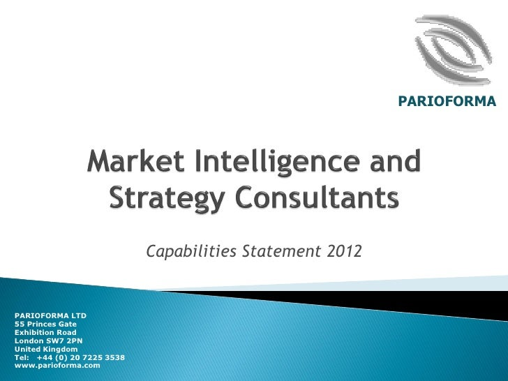 Parioforma   market intelligence & strategy development services