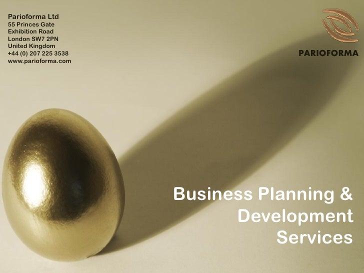Parioforma business plan development services