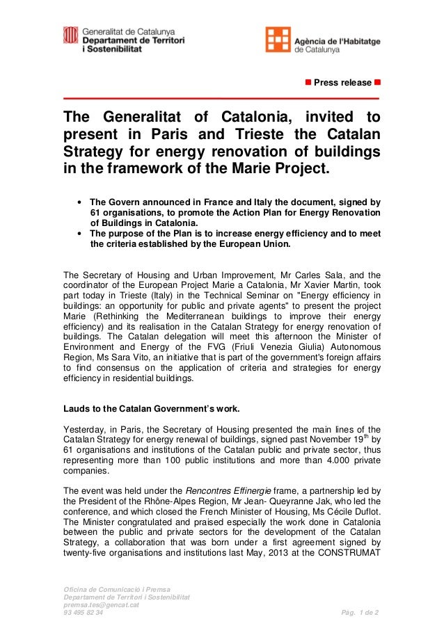 Press release  The Generalitat of Catalonia, invited to present in Paris and Trieste the Catalan Strategy for energy renov...