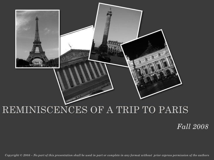 REMINISCENCES OF A TRIP TO PARIS                                                                                          ...