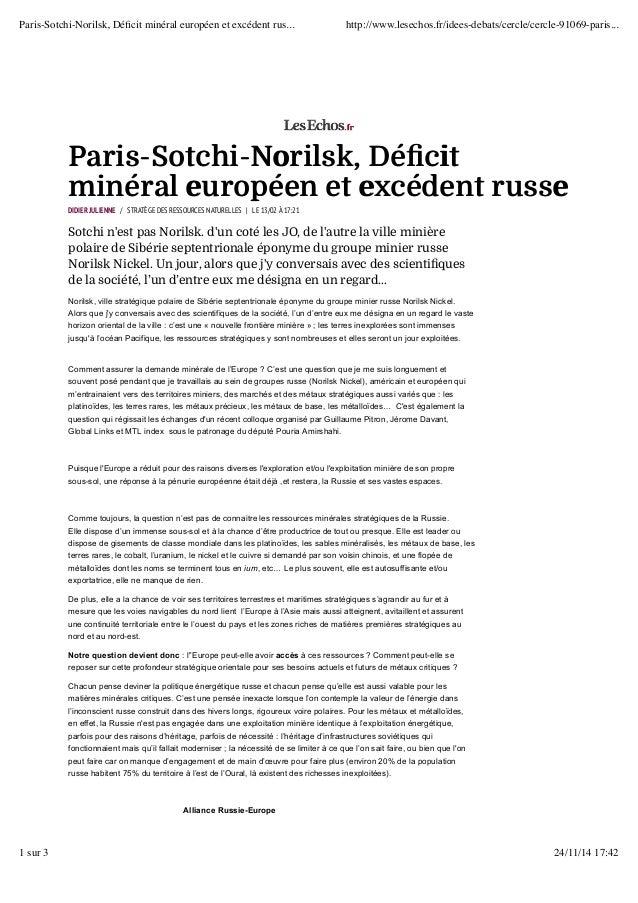 Paris-Sotchi-Norilsk, Déficit minéral européen et excédent rus... http://www.lesechos.fr/idees-debats/cercle/cercle-91069-...