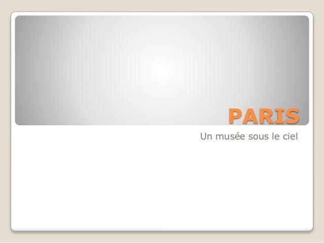 PARIS Un musée sous le ciel