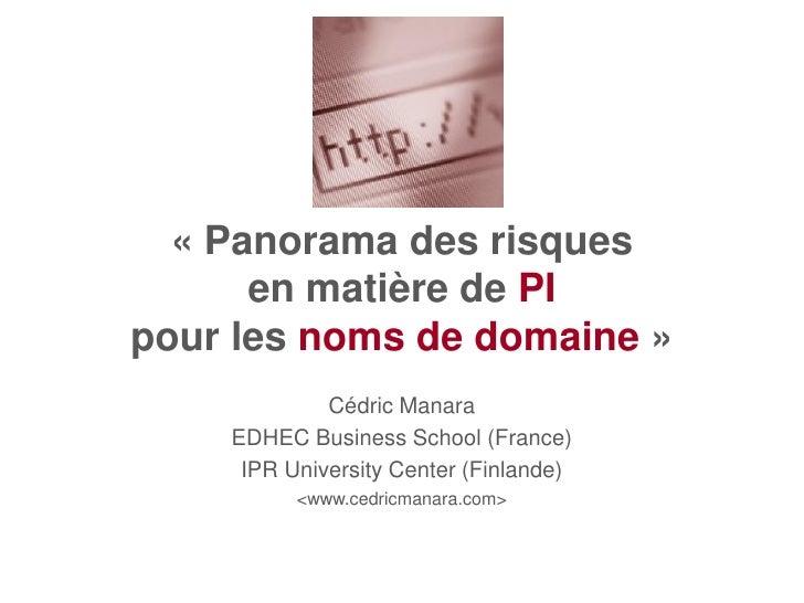 « Panorama des risques       en matière de PI pour les noms de domaine »              Cédric Manara     EDHEC Business Sch...