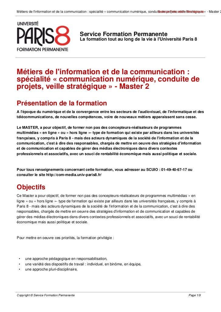 Métiers de linformation et de la communication : spécialité « communication numérique, conduite de projets, veille Permane...