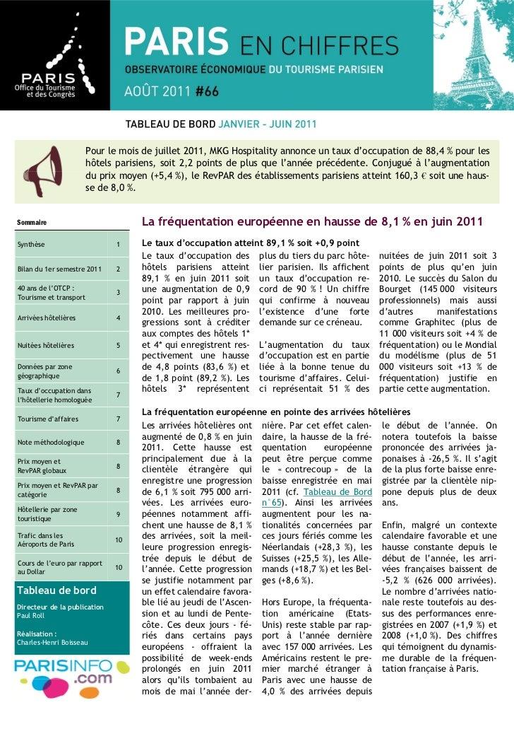 Pour le mois de juillet 2011, MKG Hospitality annonce un taux d'occupation de 88,4 % pour les                        hôtel...