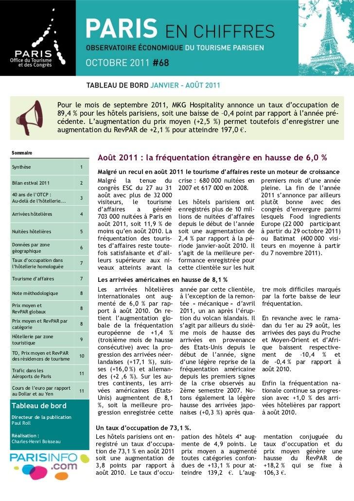Pour le mois de septembre 2011, MKG Hospitality annonce un taux d'occupation de                      89,4 % pour les hôtel...