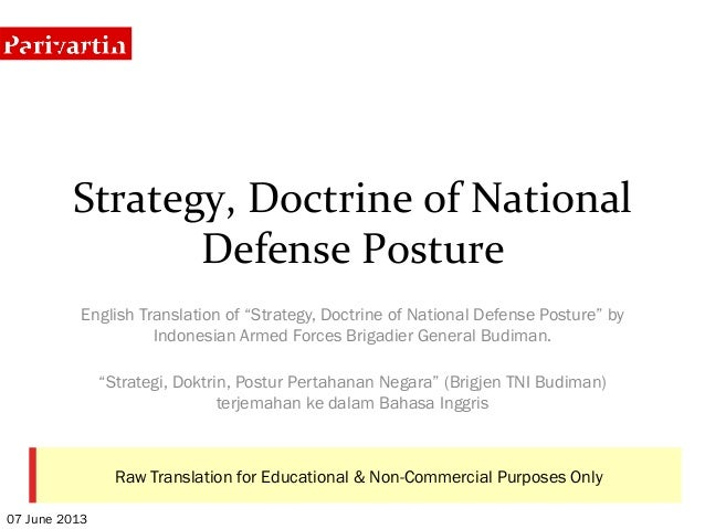 """Indonesia's """"Strategy, Doctrine of National Defense Posture"""" Whitepaper"""