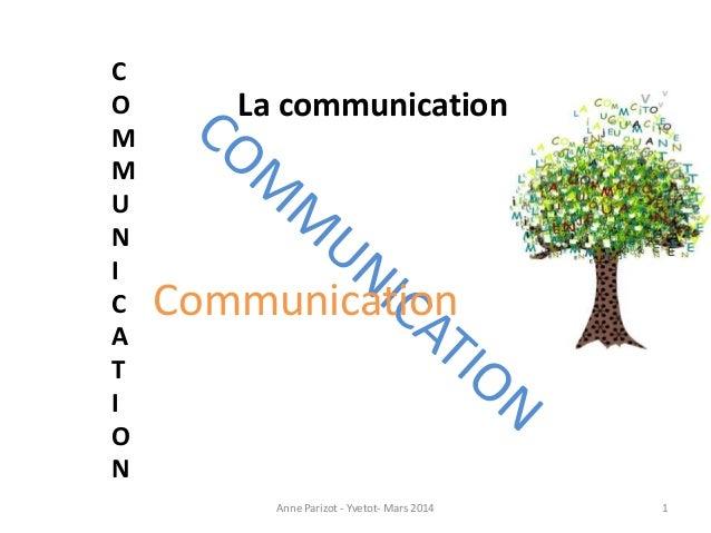 Communication C O M M U N I C A T I O N La communication Anne Parizot - Yvetot- Mars 2014 1