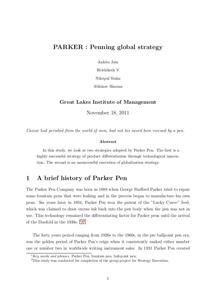 Parker   penning global strategy