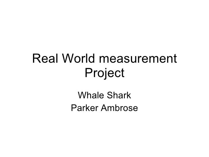 Real World measurement Project Whale Shark Parker Ambrose