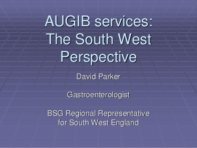 AUGIB services: The South West Perspective David Parker Gastroenterologist BSG Regional Representative for South West Engl...