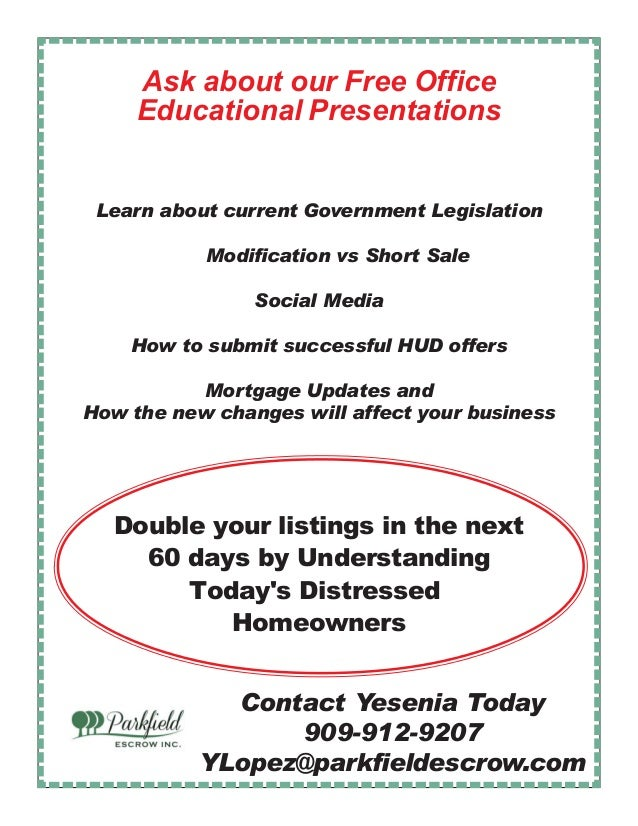 Parkfield Escrow Realtor Training Opportunies