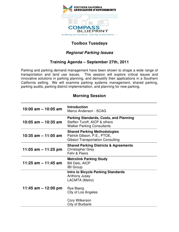 Toolbox Tuesdays                            Regional Parking Issues                  Training Agenda – September 27th, 201...