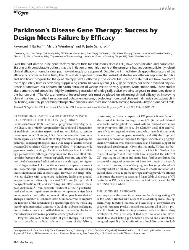 review  © The American Society of Gene & Cell Therapy  Open  MT  Parkinson's Disease Gene Therapy: Success by Design Meets...