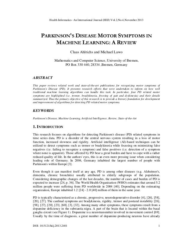 Health Informatics- An International Journal (HIIJ) Vol.2,No.4,November 2013  PARKINSON'S DISEASE MOTOR SYMPTOMS IN MACHIN...