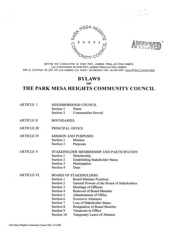 Park Mesa Heights CC Bylaws