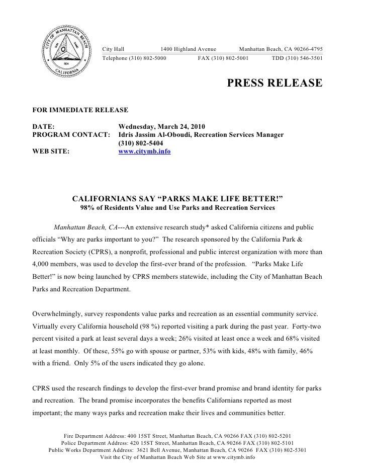 Parks Make Life Better Press Release (2)