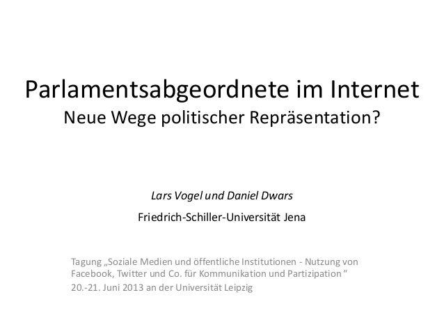 Parlamentsabgeordnete im Internet Neue Wege politischer Repräsentation? Lars Vogel und Daniel Dwars Friedrich-Schiller-Uni...