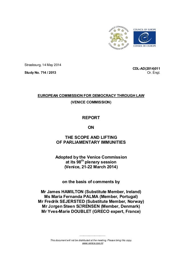 ___________________ This document will not be distributed at the meeting. Please bring this copy. www.venice.coe.int Stras...