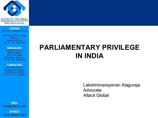 Parliamentary privilege in india
