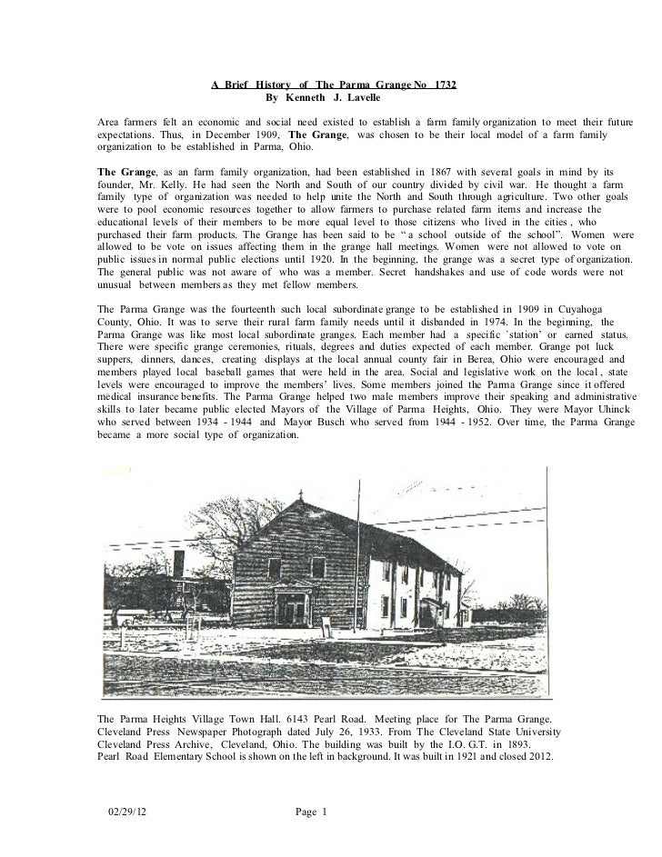 A Brief History of The Parma Grange No 1732                                 By Kenneth J. LavelleArea farmers felt an econ...