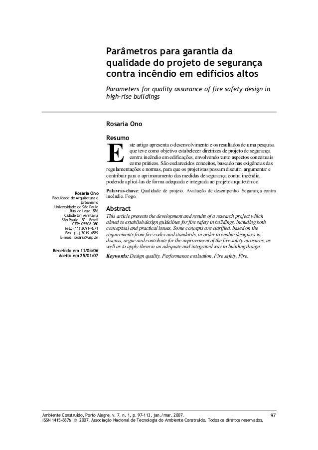 Parâmetros para garantia da qualidade do projeto de segurança contra incêndio em edifícios altos Parameters for quality as...