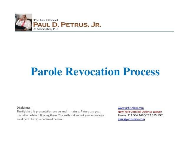 Parole Revocation Process