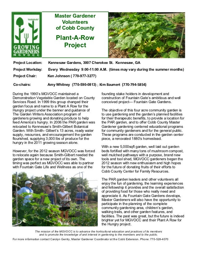 Plant a Row for the Hungry - Master Gardeners, Cobb County, Georgia
