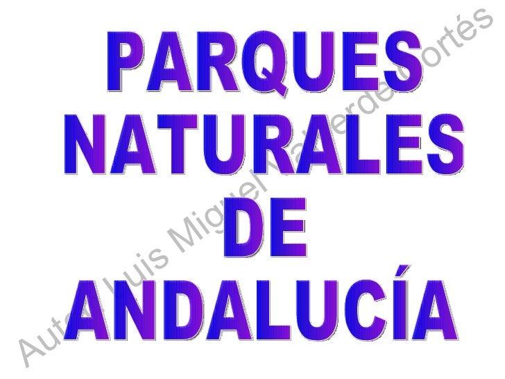 Autor: Luis Miguel Valverde Cortés PARQUES NATURALES DE ANDALUCÍA