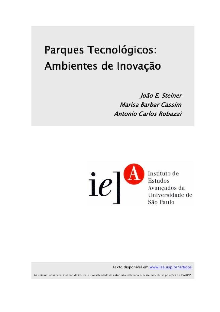 Parques Tecnológicos: ambientes de inovação