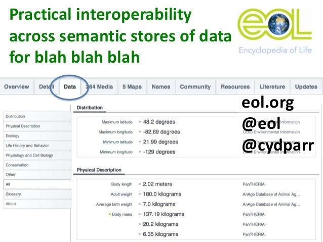 Practical interoperability across semantic stores of data for blah blah blah eol.org @eol @cydparr