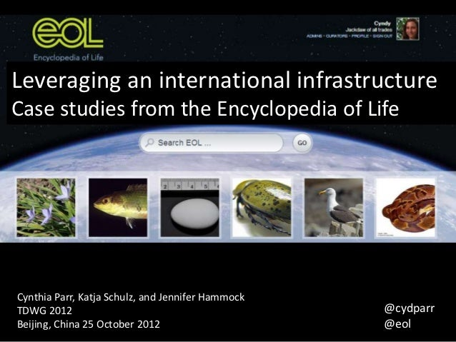 Leveraging an international infrastructure: Case studies from the Encyclopeda of Life