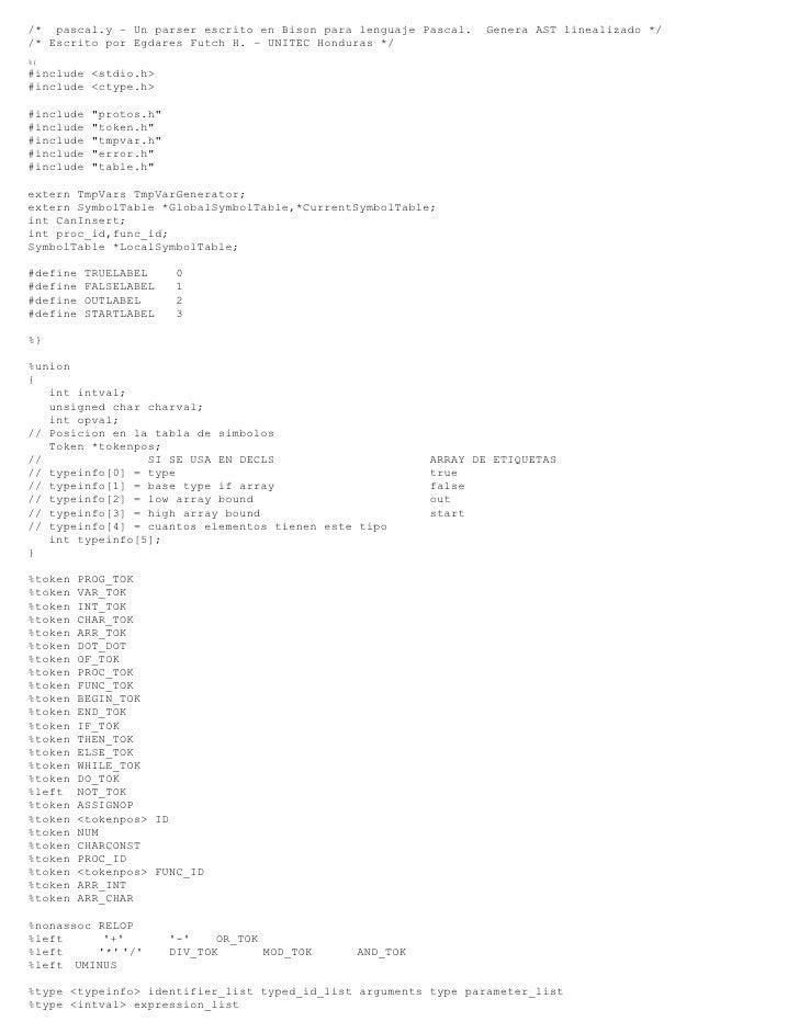 Analizador sintáctico de Pascal escrito en Bison