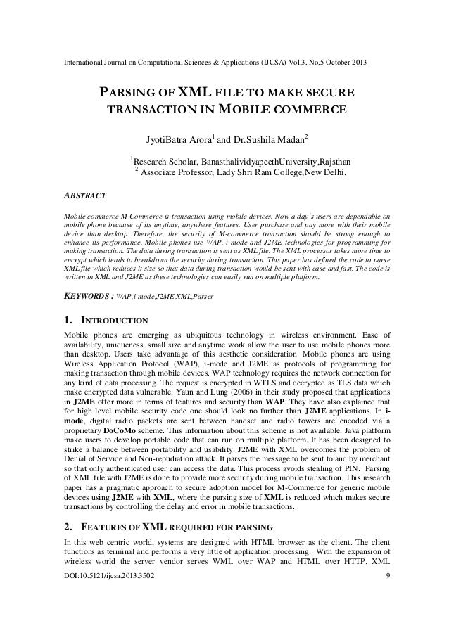 Parsing of xml file to make secure transaction in mobile commerce