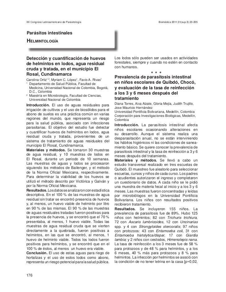 XX Congreso Latinoamericano de Parasitología                                          Biomédica 2011;31(sup.3):23-205Parás...