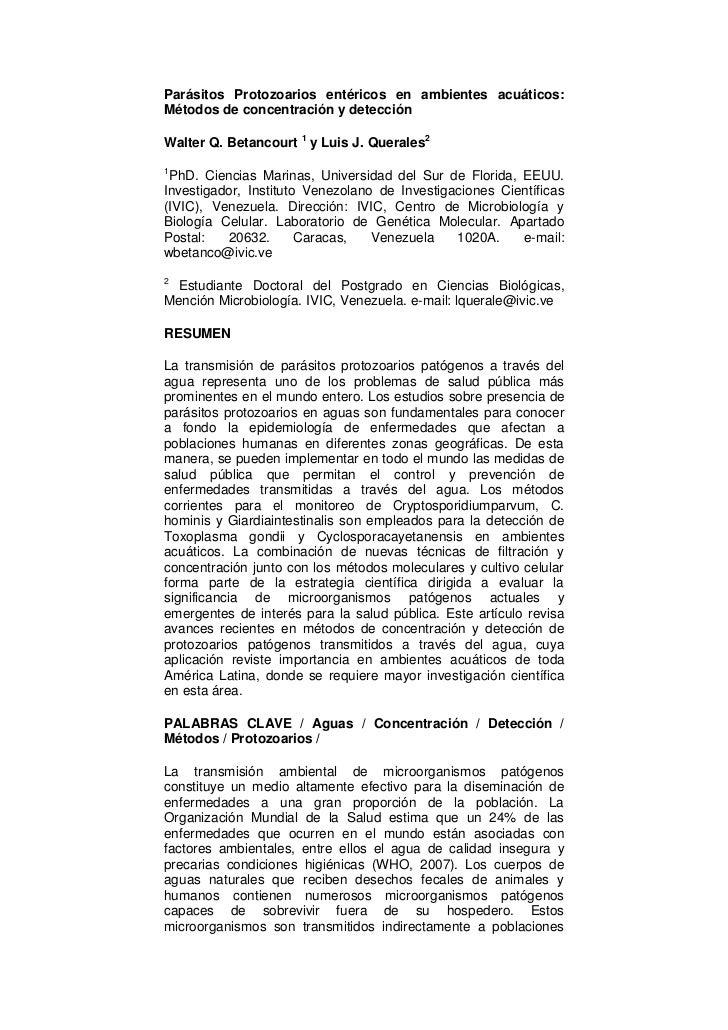 Parásitos Protozoarios entéricos en ambientes acuáticos:Métodos de concentración y detecciónWalter Q. Betancourt 1 y Luis ...