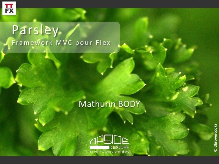 ParsleyFramework MVC pour Flex               Mathurin BODY                                           Mathurin BODY        ...
