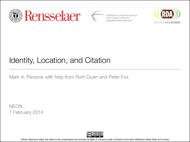 Identity, Location, and Citation at NEON