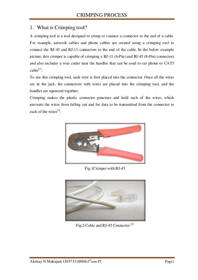 CRIMPING PROCESS Akshay N Mahajan(120573116004)5th sem IT Page1 1. What is Crimping tool? A crimping tool is a tool design...